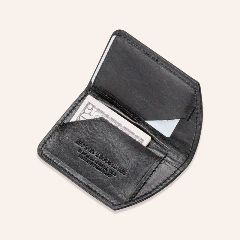 Minimalist Spartan Wallet in Bison - Black - Open 1