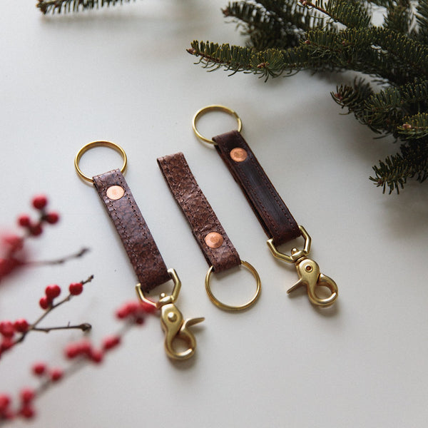 Salmon Leather Keychain