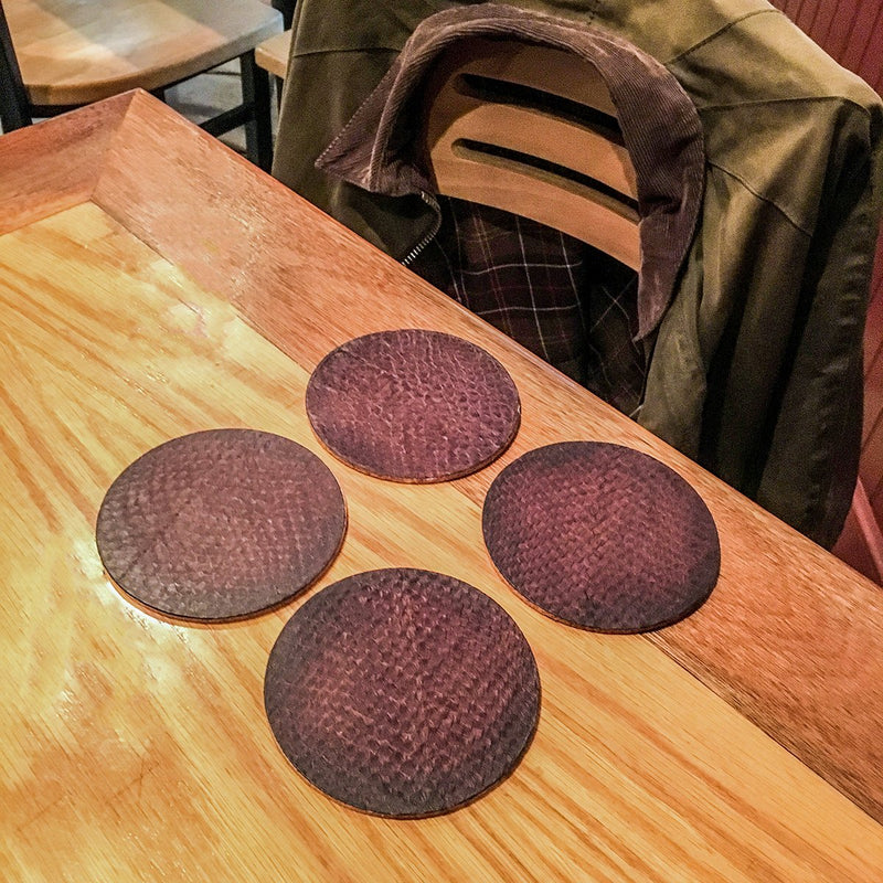 Salmon Leather Coaster Set from Rogue Industries - 3