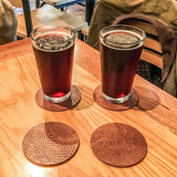 Salmon Leather Coaster Set from Rogue Industries - Light Brown - 1
