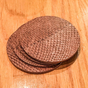 Salmon Leather Coaster Set from Rogue Industries - Light Brown - 2