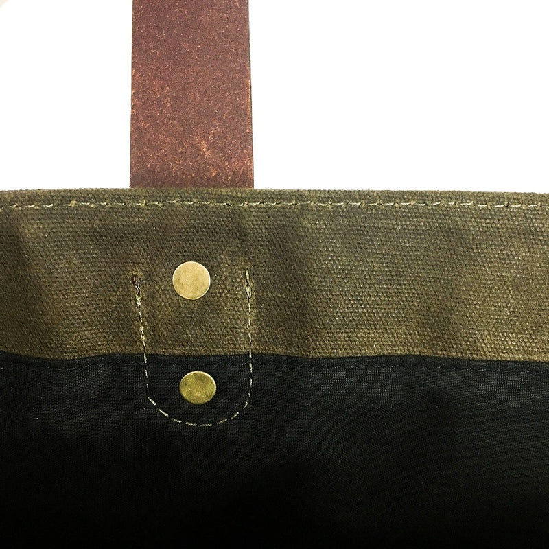 Waxed Canvas and Leather Tote from Rogue Industries - Green 3