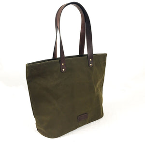 Waxed Canvas and Leather Tote from Rogue Industries - Green 4
