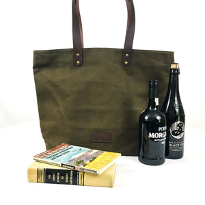 Waxed Canvas and Leather Tote from Rogue Industries - Green 5