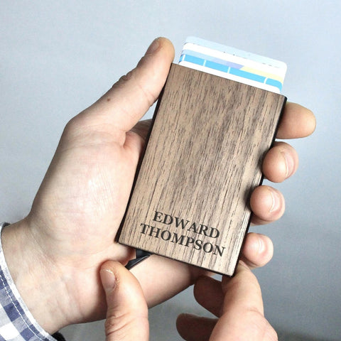 Personalized Wood & Metal Credit Card Holder Wallet