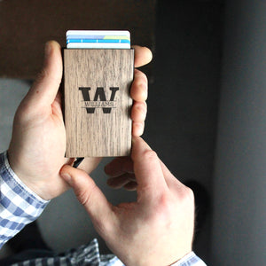 Personalized Wood Credit Card Holder Wallet