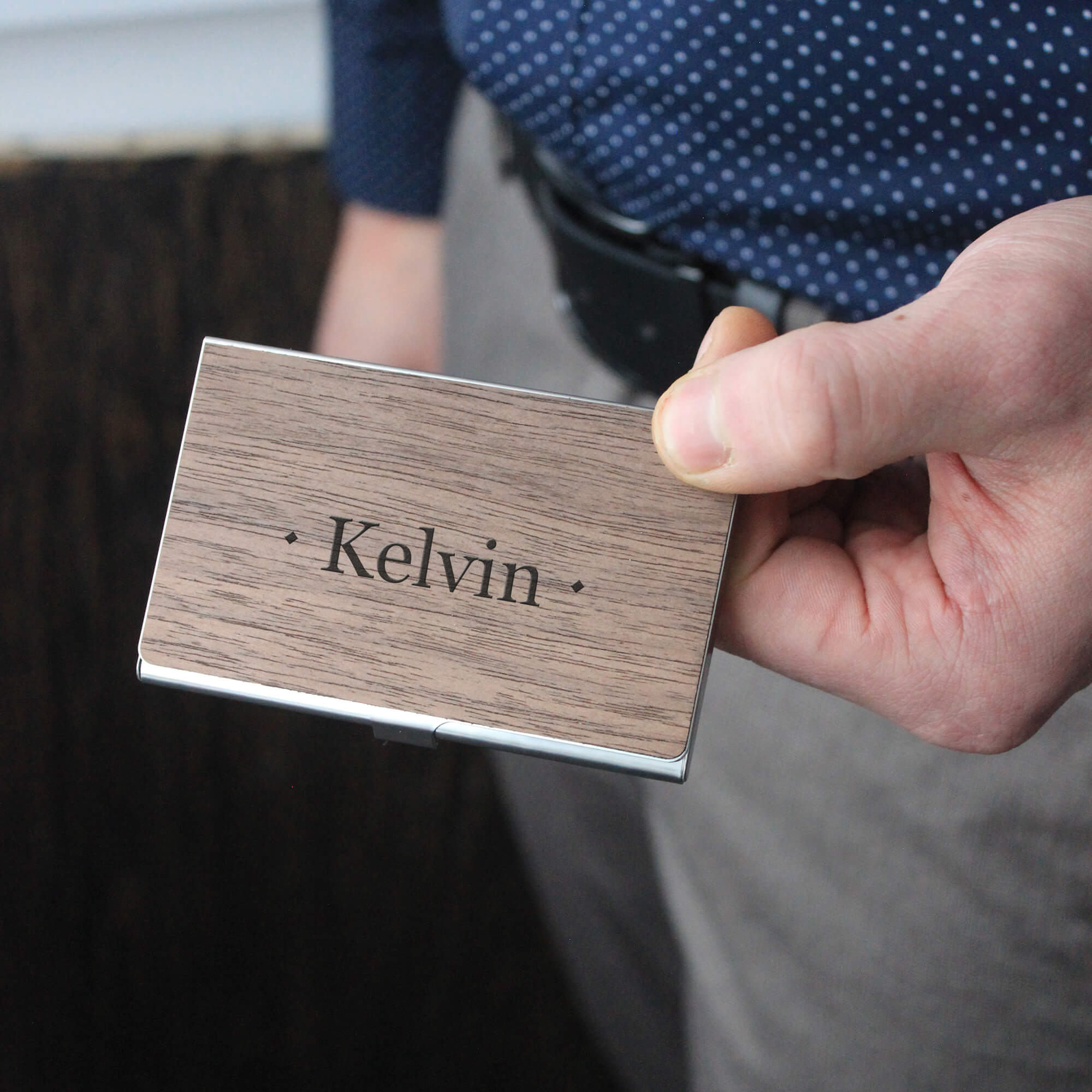Monogram - Wooden Business Card Holder - Personalized