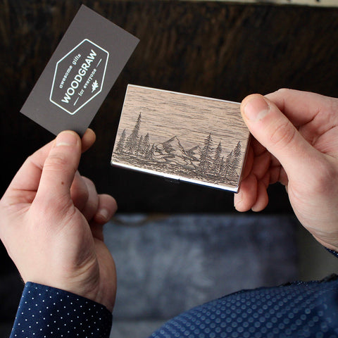 Nature - Wooden Business Card Holder