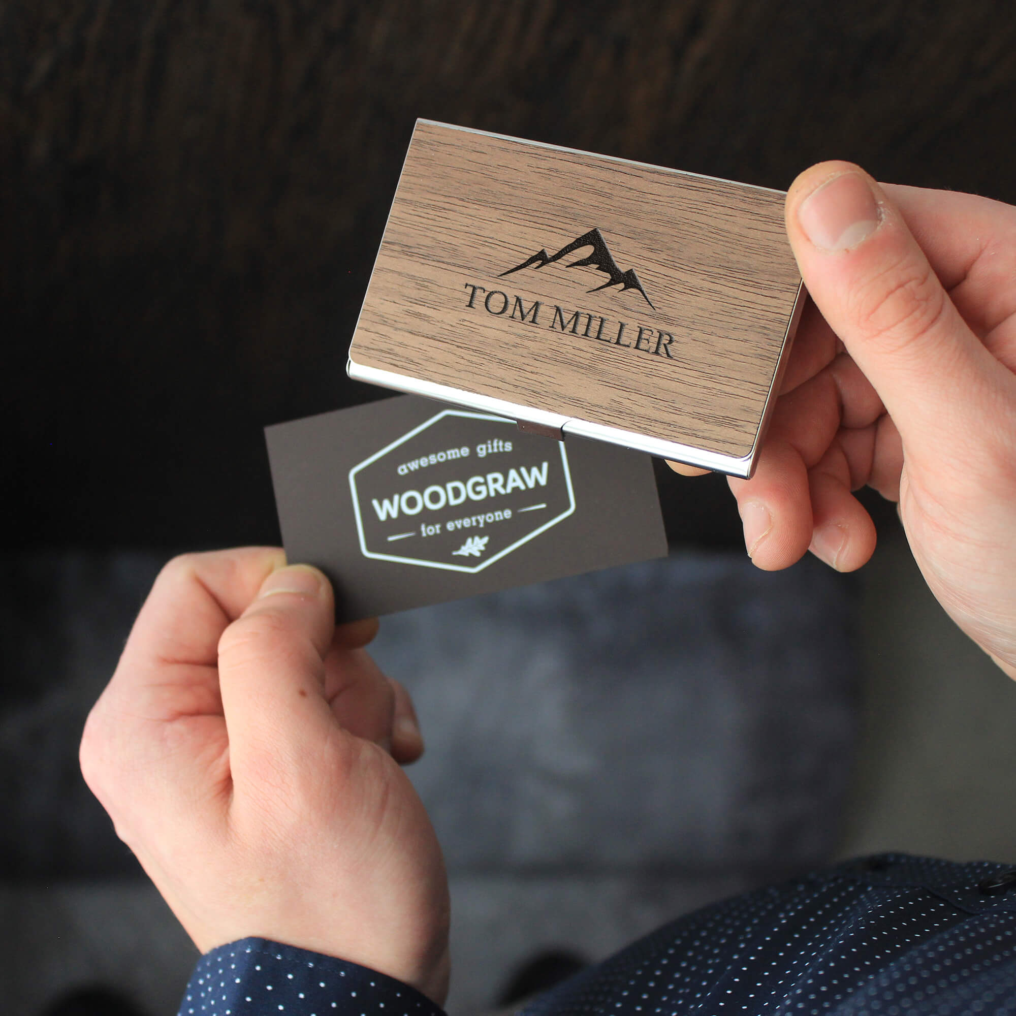 Personalized Wooden Business Card Holder