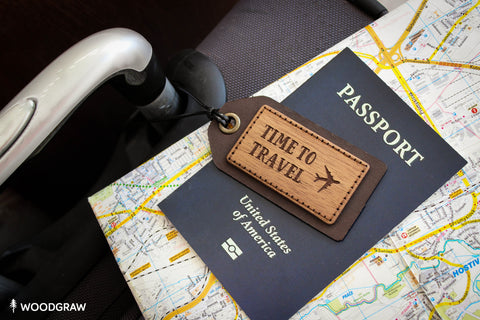 Time to Travel - Wooden Luggage Tag