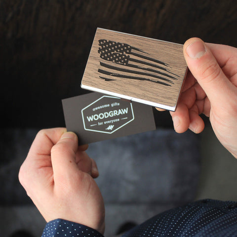 American flag - Wooden Business Card Holder