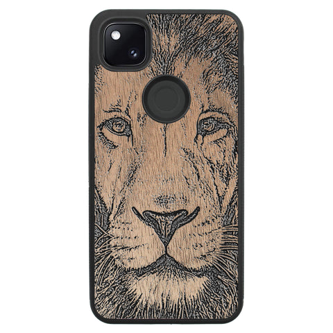 Wooden Case for Google Pixel 4A Lion face