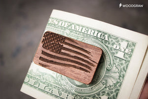 American Flag - Wooden Money Clip