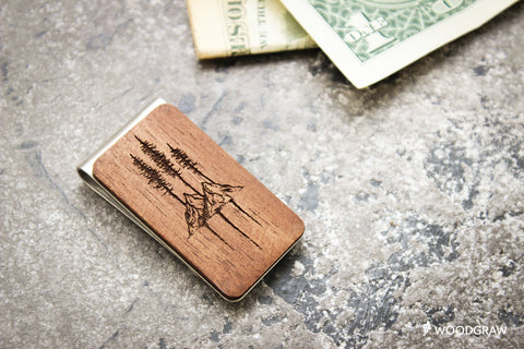 Mountain - Wooden Money Clip