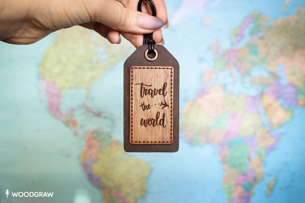 Travel the World - Luggage Tag, Travel Tag, Leather Bag tag