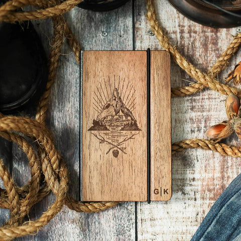 Mountains calling -  Wooden Notebook