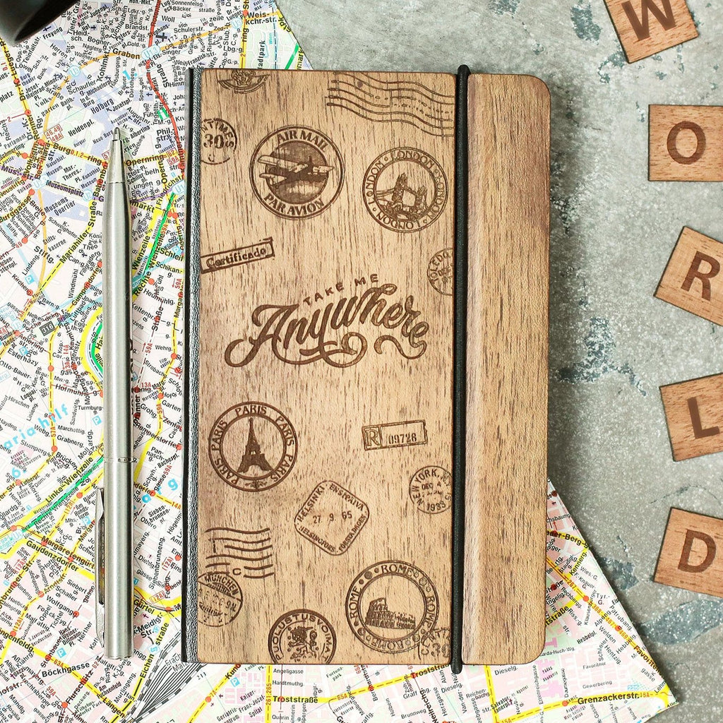 Travel - Leather Journal Notebook Personalized