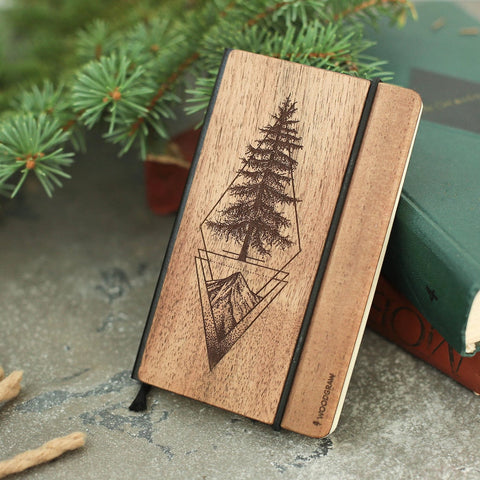 Pine Tree - Personalized Bullet Journal, Leather Notebook