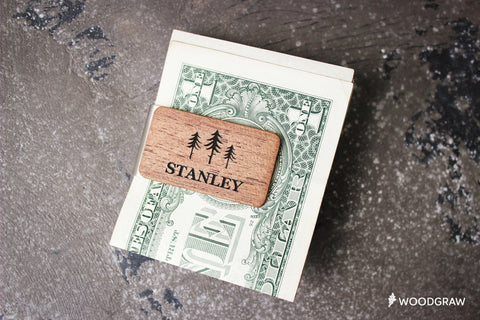 Personalized Wood & Metal Money Clip