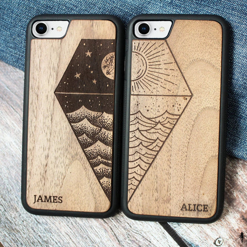 Sea - Wooden iPhone Case for Couple