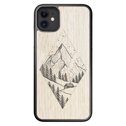 Wooden Case for iPhone 11 Winter Mountains