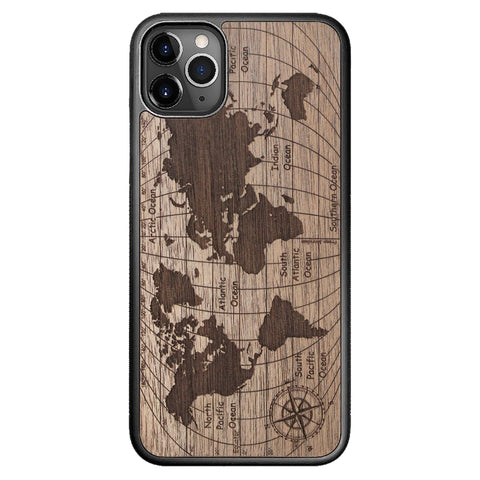 Wooden Case for iPhone 11 Pro Max World Map