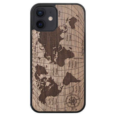 Wooden Case for iPhone 12 World Map