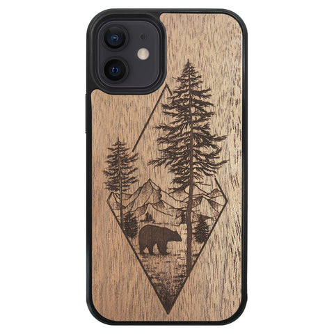 Wooden Case for iPhone 12 Mini Woodland Bear