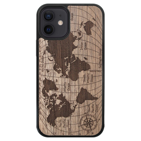 Wooden Case for iPhone 12 Mini World Map