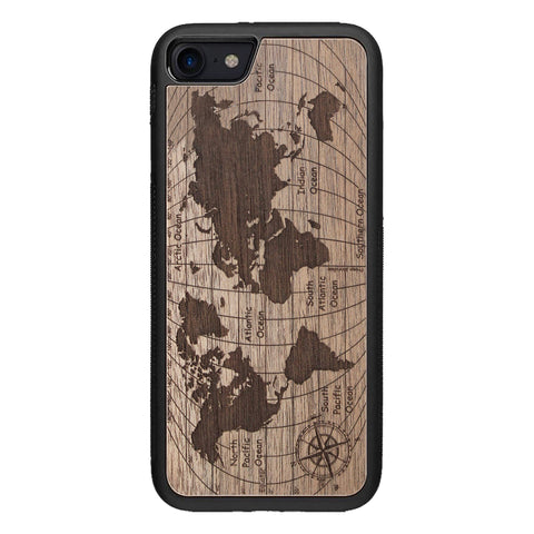 Wooden Case for iPhone SE 2 generation case World Map