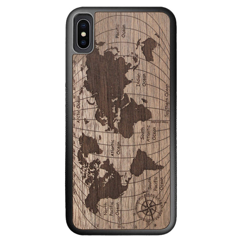 Wooden Case for iPhone XS Max World Map