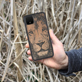 Wooden Pixel 4A Case Lion face