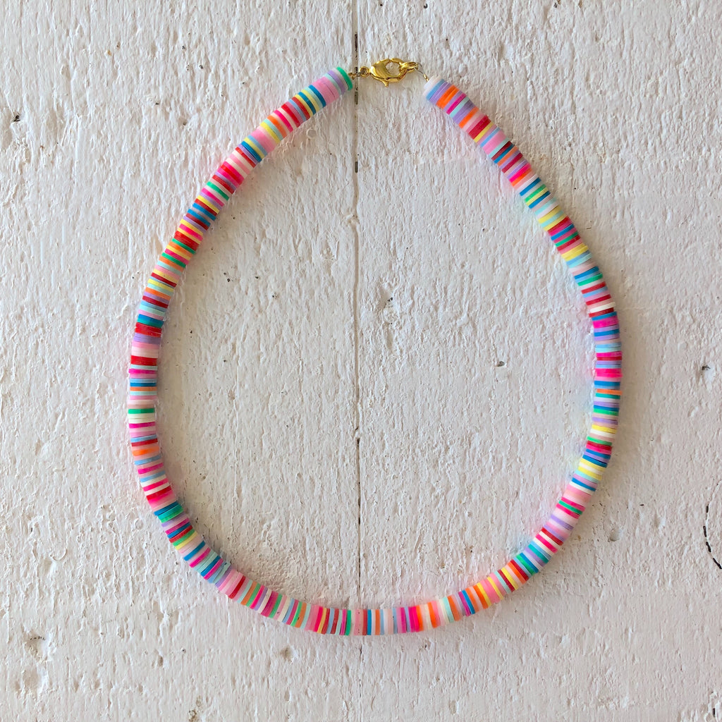 surf necklace colors yellow blue pink green white
