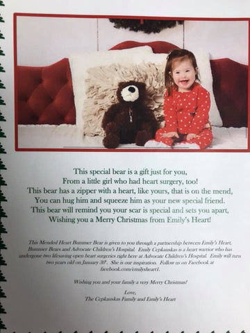 "Emily's Heart card to the other ""heart kids"" receiving bears at Advocate Children's Hospital"