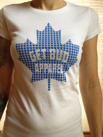 Maple Leaf Fitted T-shirt - Blue Logo