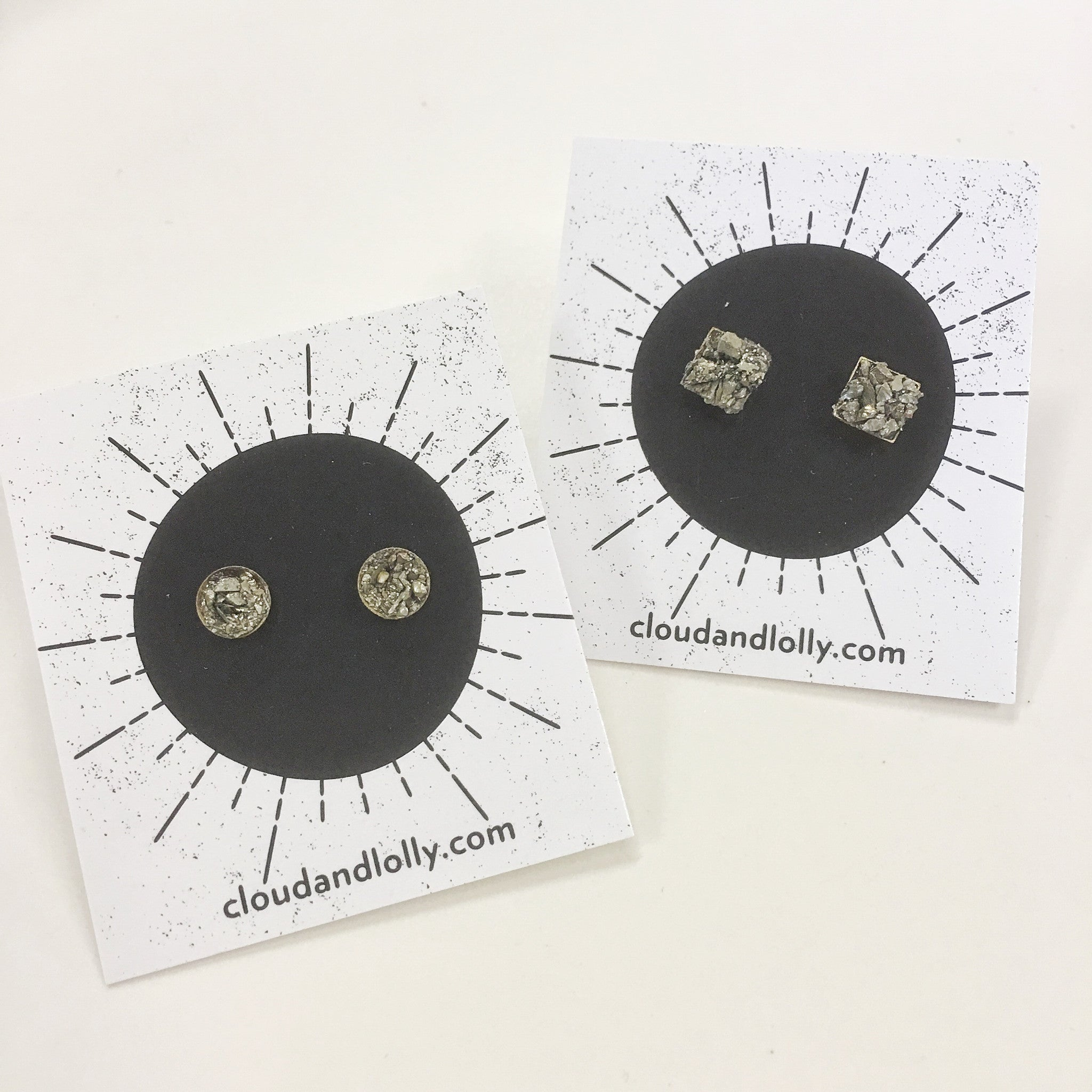 Pyrite Stud Earrings - 5mm/Round - Aurora Lux Jewellery