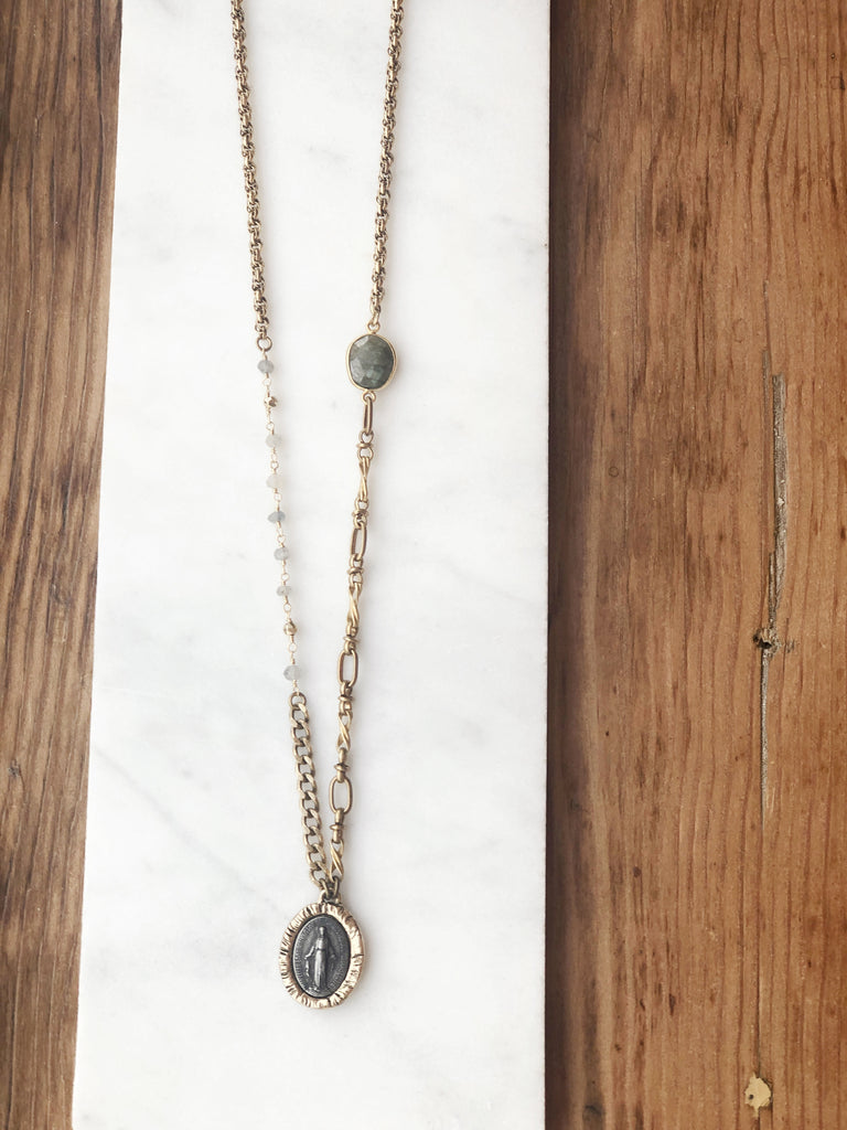 Labradorite Miraculous Medallion Necklace (4)