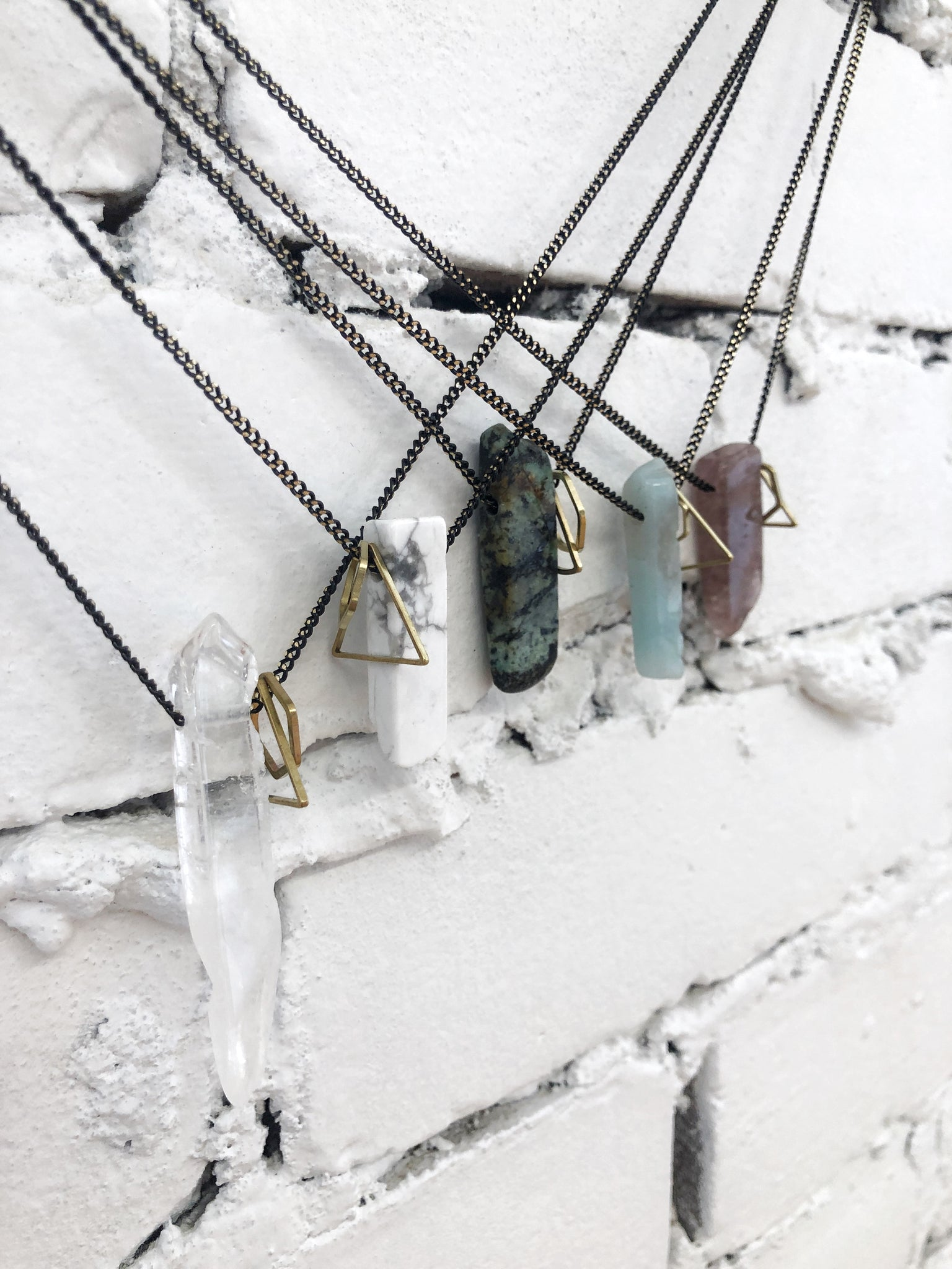 Gemstone Slice & Geometric Charms Necklace (Best Seller) - Aurora Lux Jewellery