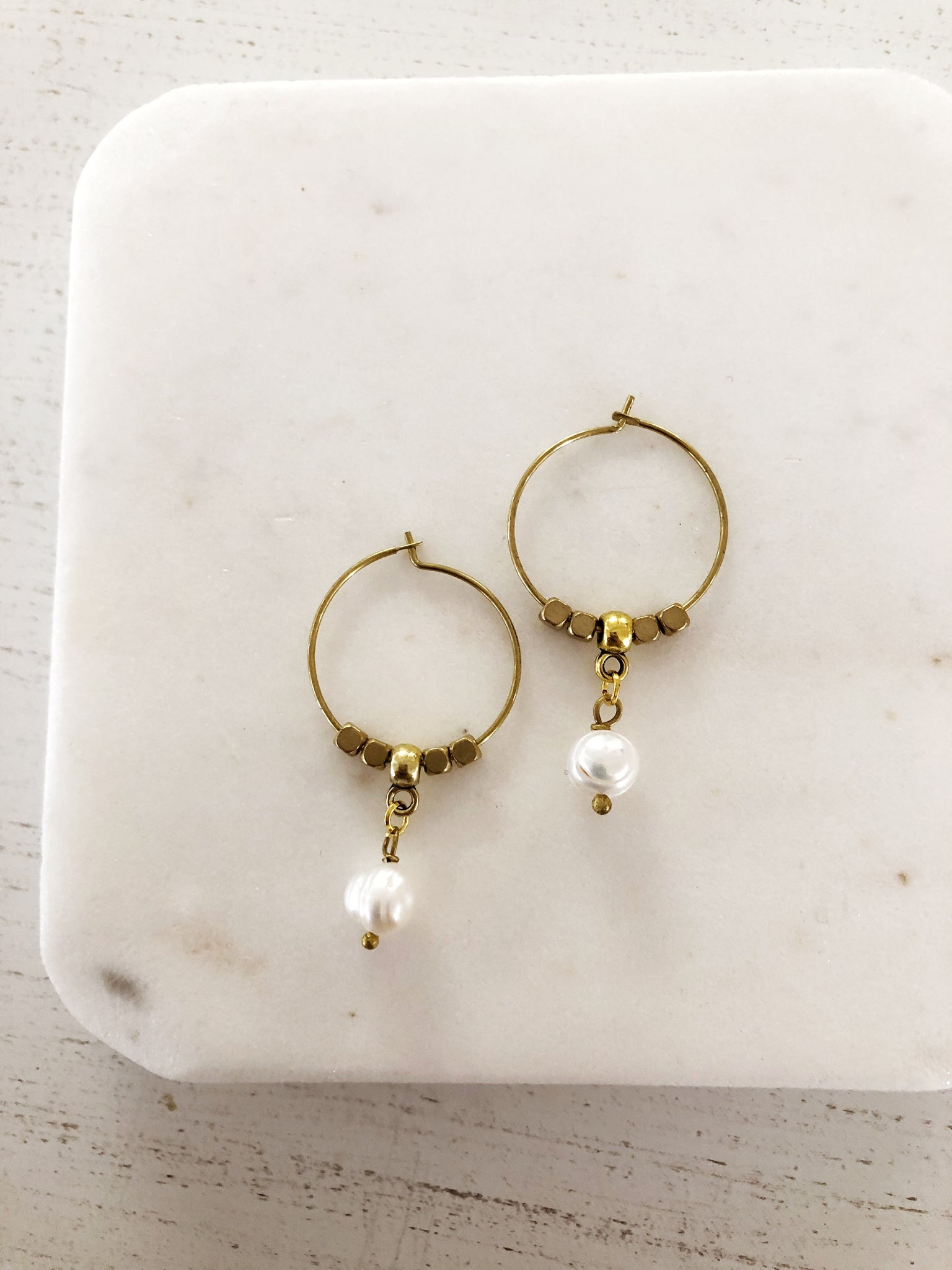 Pearl Drop Hoop Earrings - Aurora Lux Jewellery