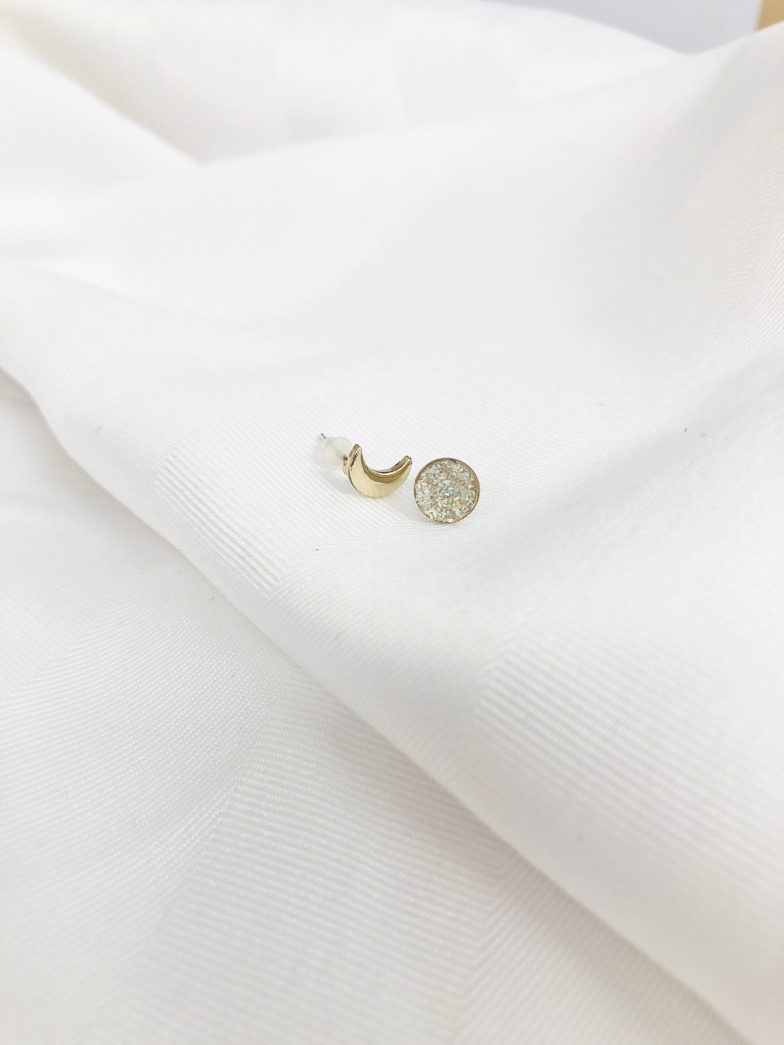 Moon and Opal Dust Studs - Aurora Lux Jewellery