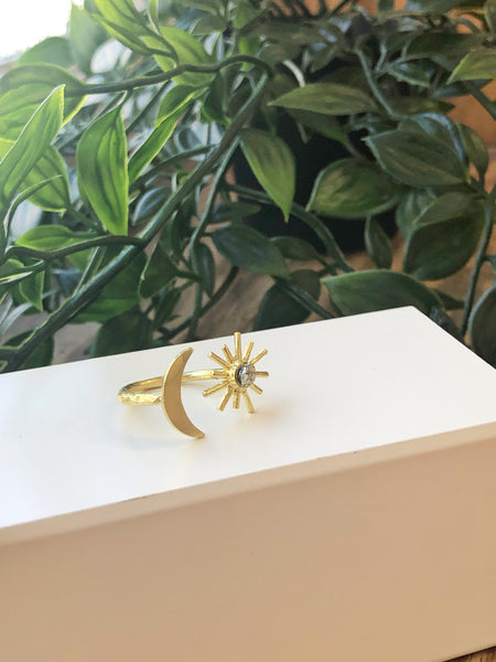 Moon and Pyrite Sun Ring - Aurora Lux Jewellery