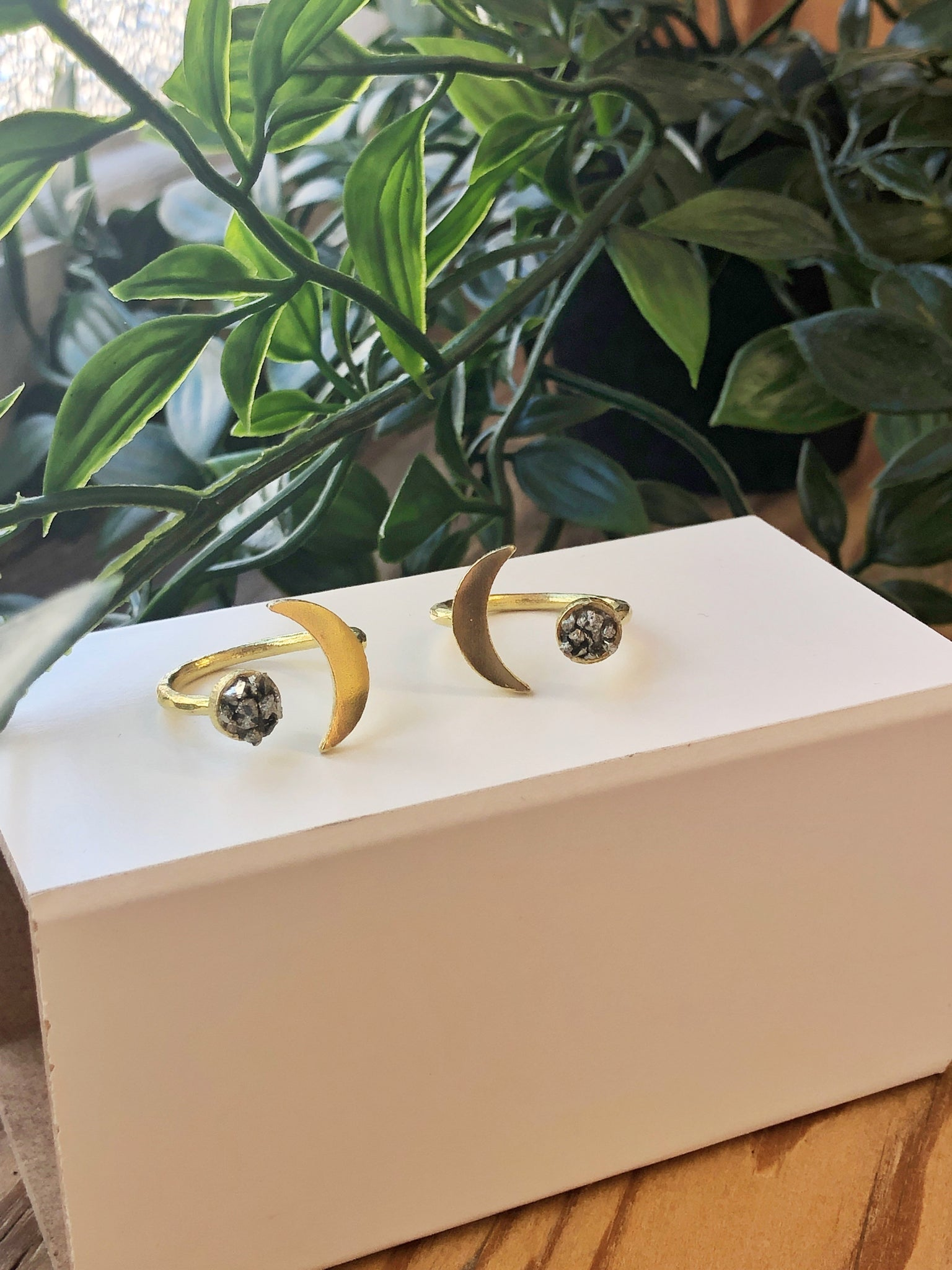 Moon and Pyrite Ring - Gold Tone - Aurora Lux Jewellery