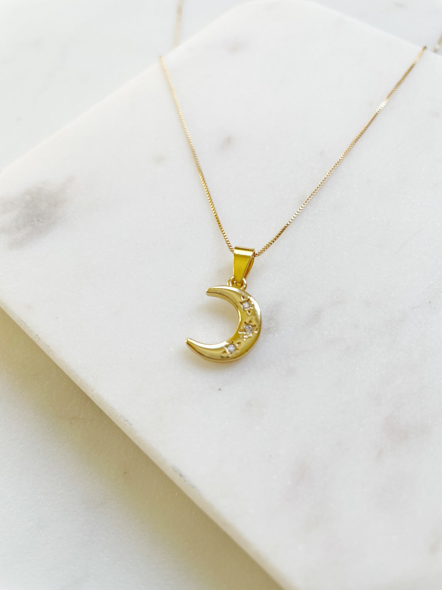 Triple Gem Moon Necklace - Aurora Lux Jewellery