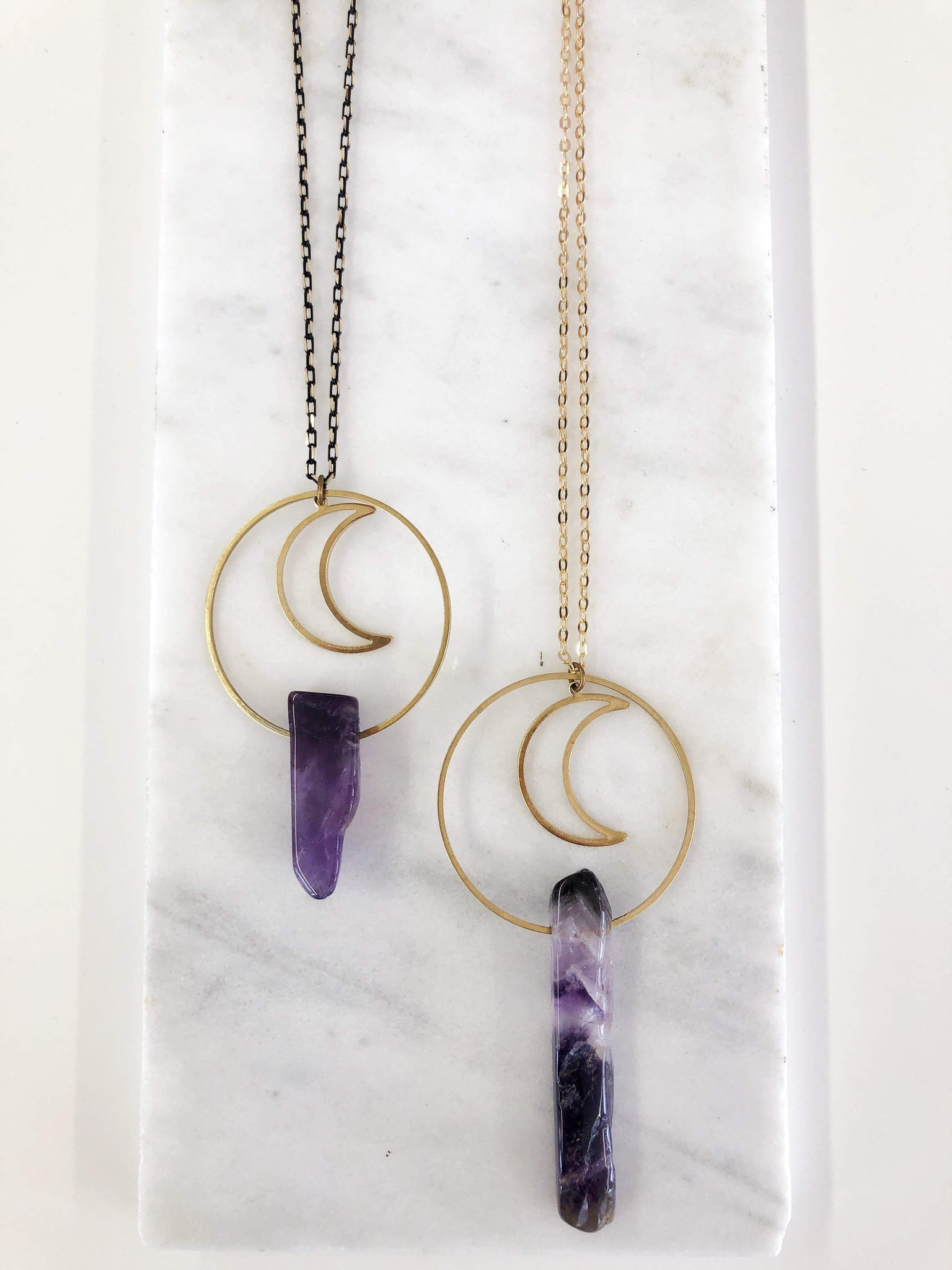 Moon and Amethyst Necklace - Aurora Lux Jewellery