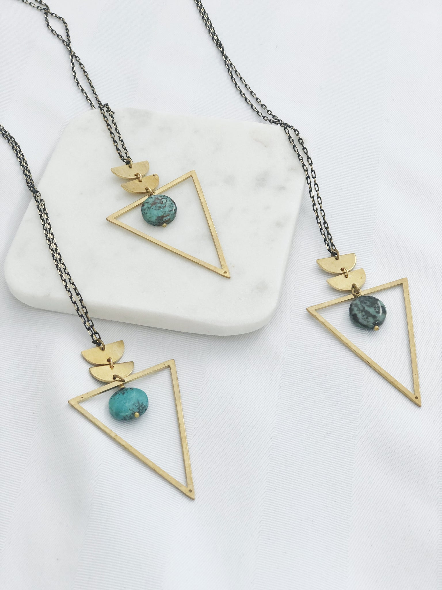 African Turquoise Triangle Necklace - Aurora Lux Jewellery