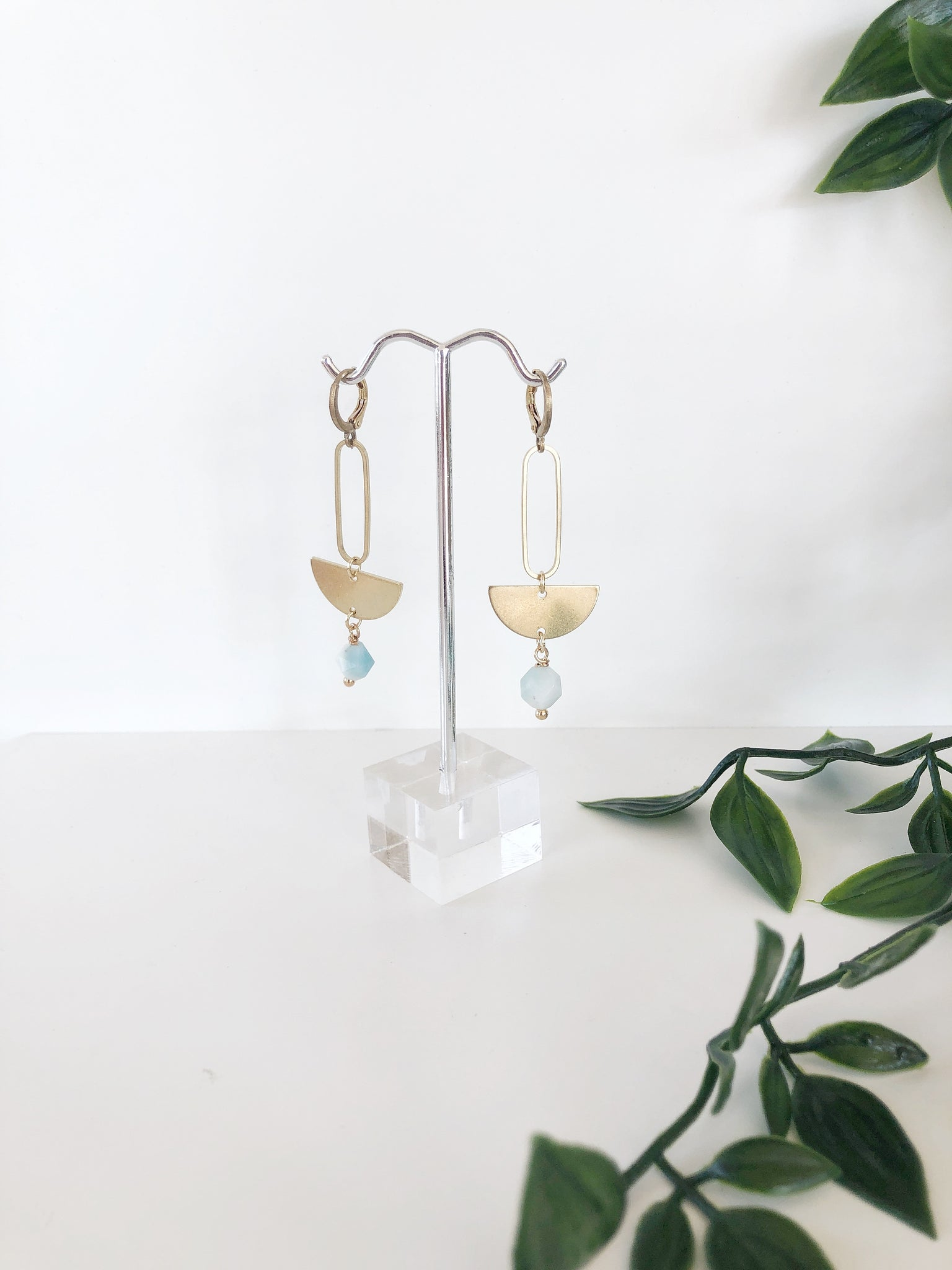 Persys Half Moon + Amazonite Earrings - Aurora Lux Jewellery