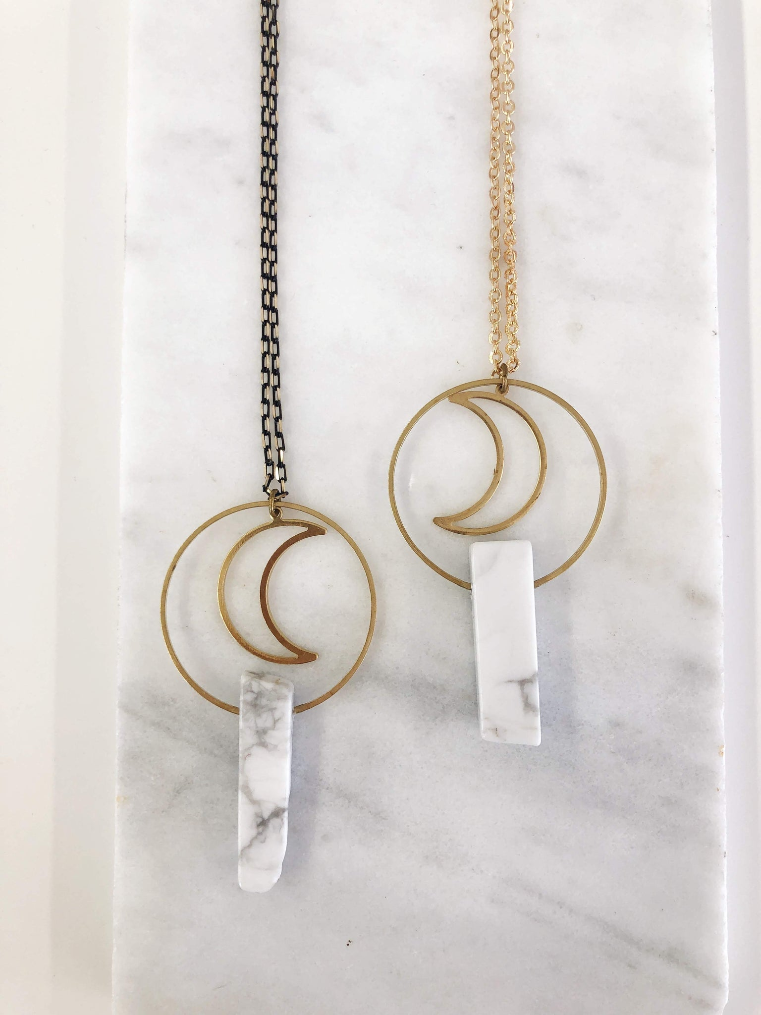 Moon and White Howlite Necklace - Aurora Lux Jewellery