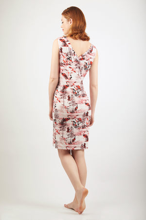 V-Neck Dress - Zayana Print - Red