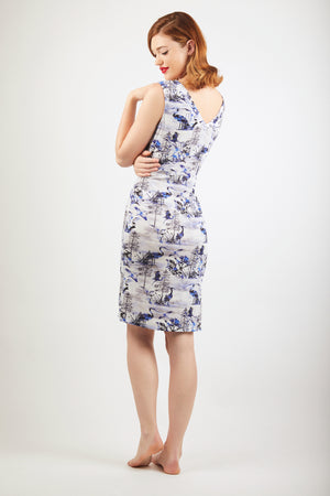 V-Neck Dress - Zayana Print - Blue