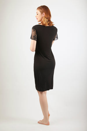 Sleeved Nightdress - Black
